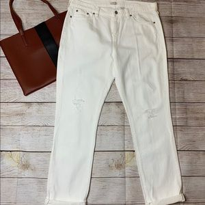 J.Crew distressed white slim boyfriend jean